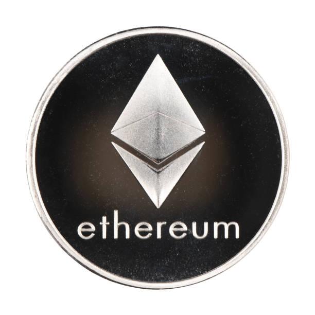 Vinnitsa, Ukraine – April 5, 2019: Silver ethereum isolated on white background. (clipping path) stock photo