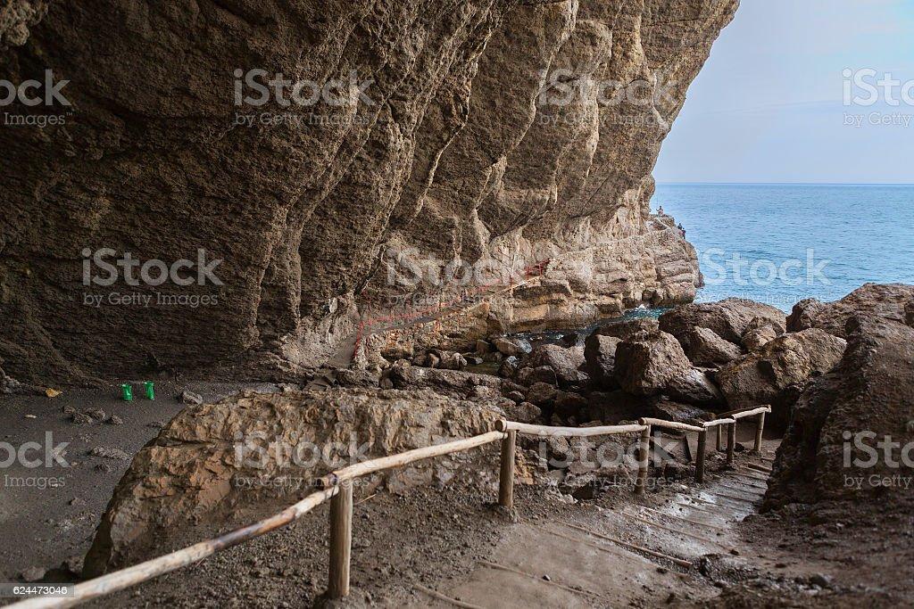 Vinoteca Golitsyn grotto Chaliapin in mountain Koba-Kaya stock photo