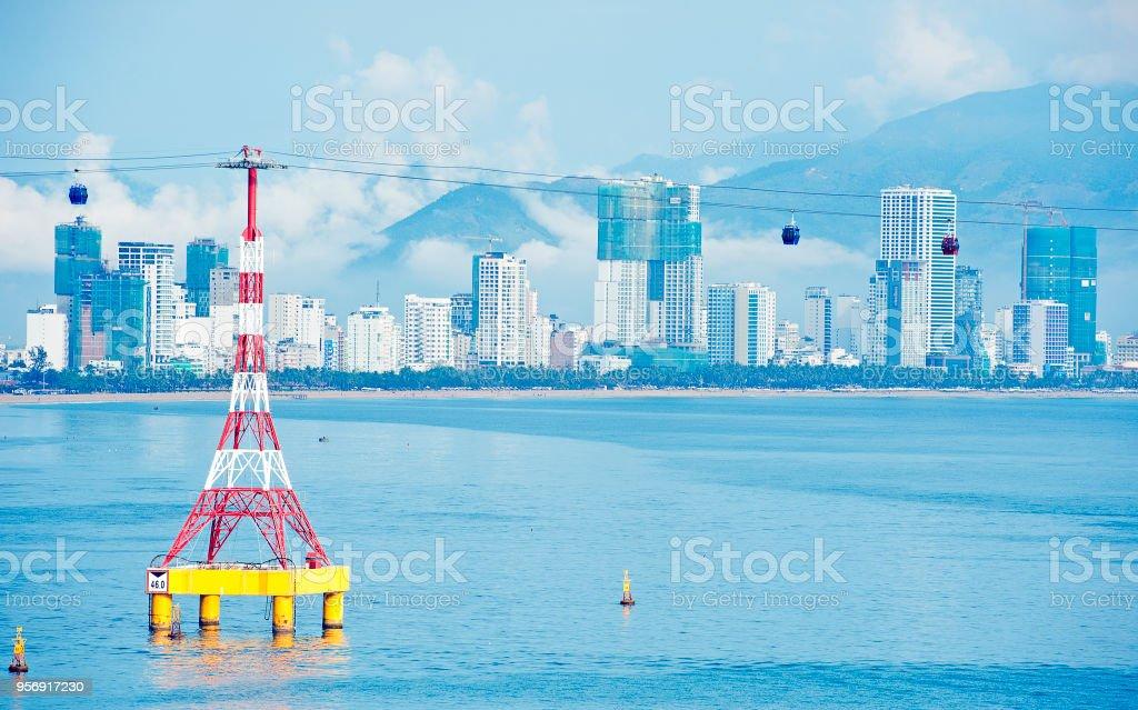Vinpearl Cable car aerial view, Nha Trang, Vietnam stock photo