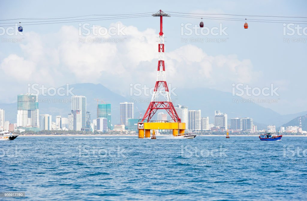 Vinpearl Cable Cars pass a support pylon, Nha Trang, Vietnam stock photo