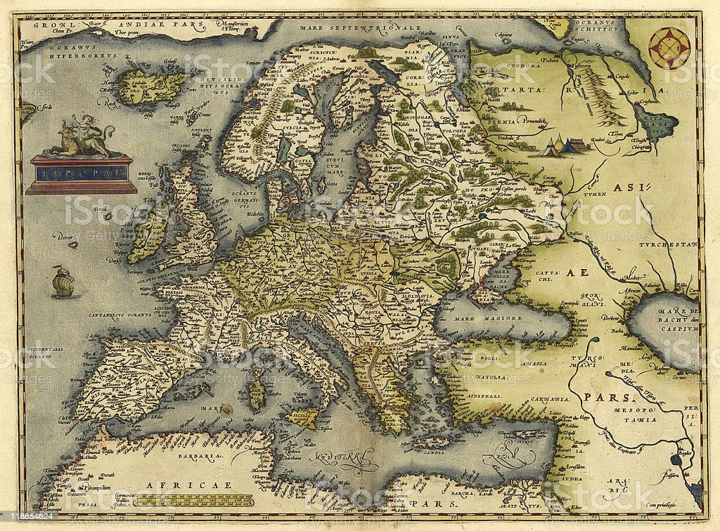 Vintage 16th century Europe map stock photo