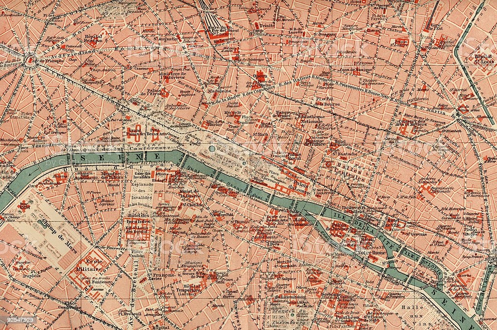 Vintage 1880s map of Ephemera, Paris stock photo