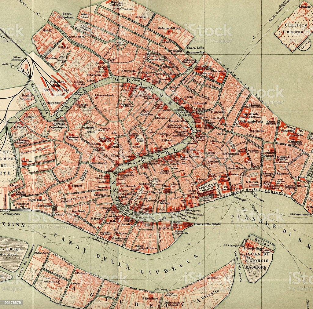 Vintage 1880s Map of Venice. stock photo
