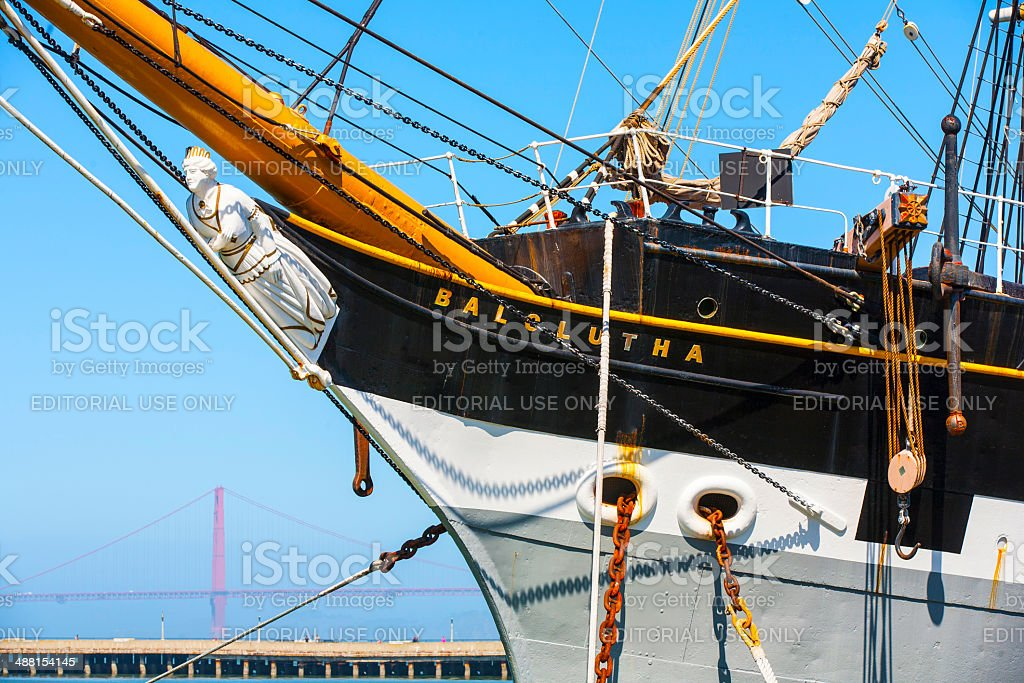 Vintage 1886 sailing ship, Balclutha, and 1914 paddle wheel tug stock photo