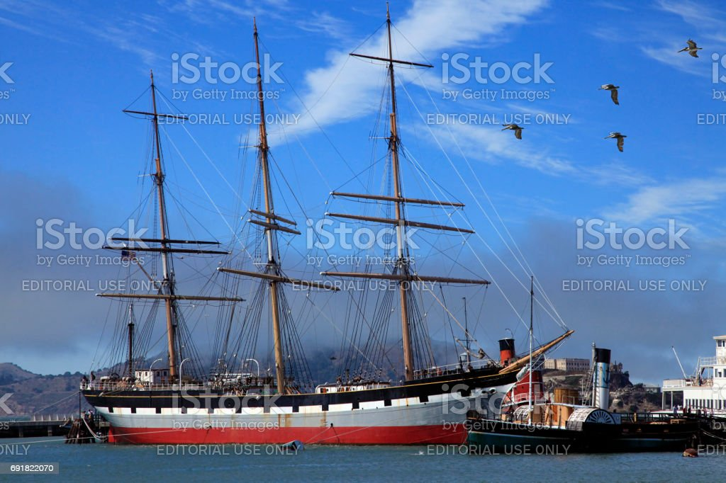 Vintage 1886 sailing ship stock photo