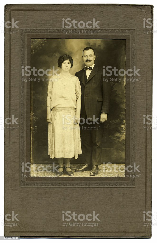 Vintage 1920's Photo of a Couple royalty-free stock photo