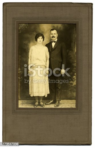 Photo of my grandmother and grandfather taken for their engagement in 1924.   The original cardboard frame with frame and photo are worn and spotted with age.