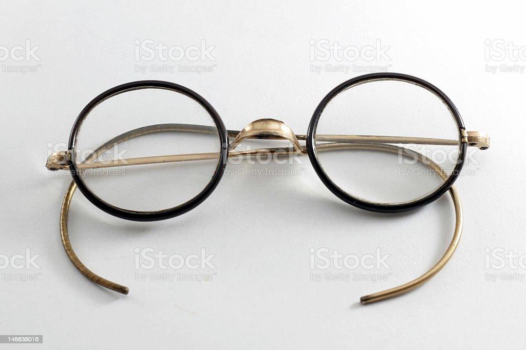 Vintage 1930 Child Glasses - Gold / Black frame stock photo