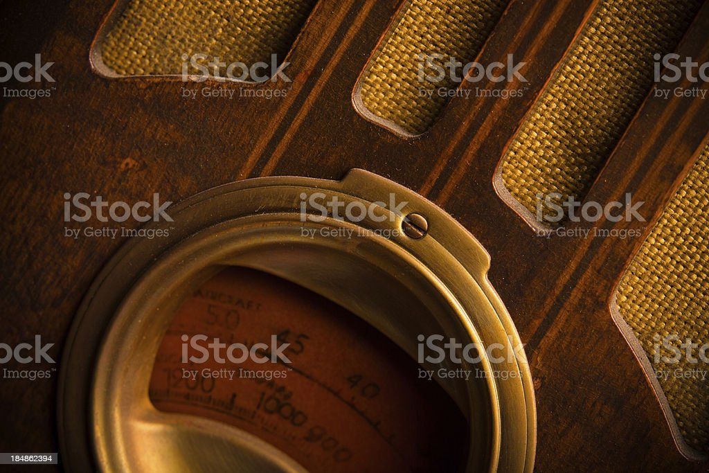Vintage 1930's Wood Radio stock photo