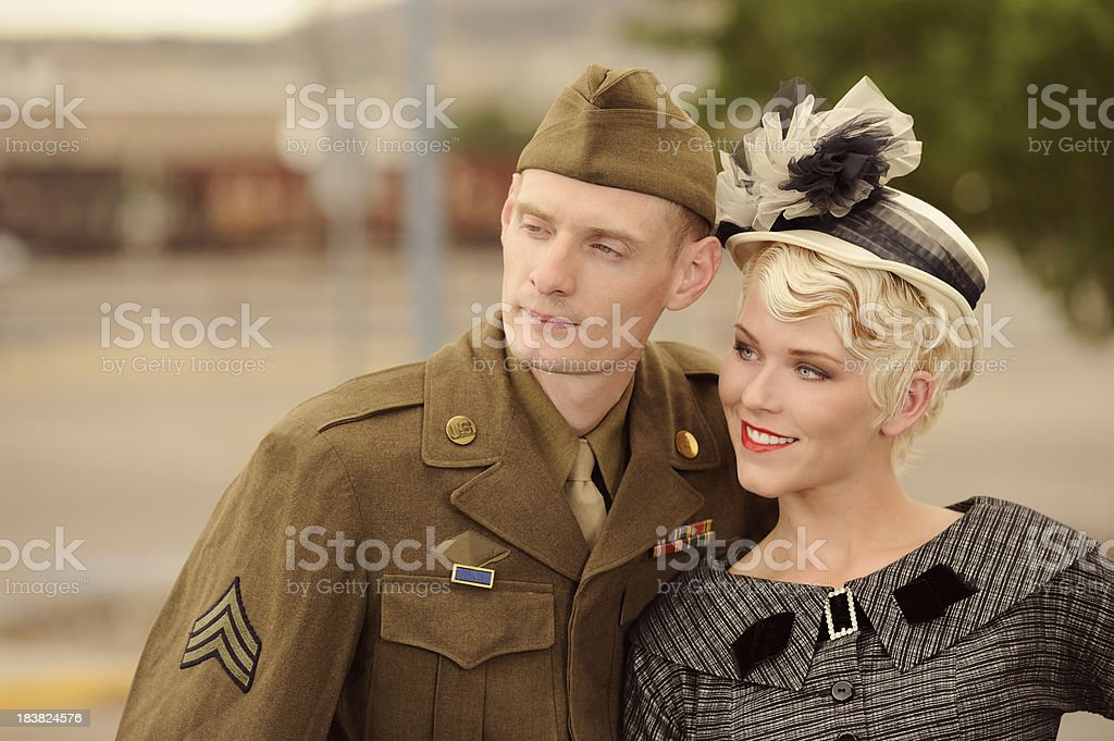 Vintage 1940's US Soldier Standing With His Girl royalty-free stock photo