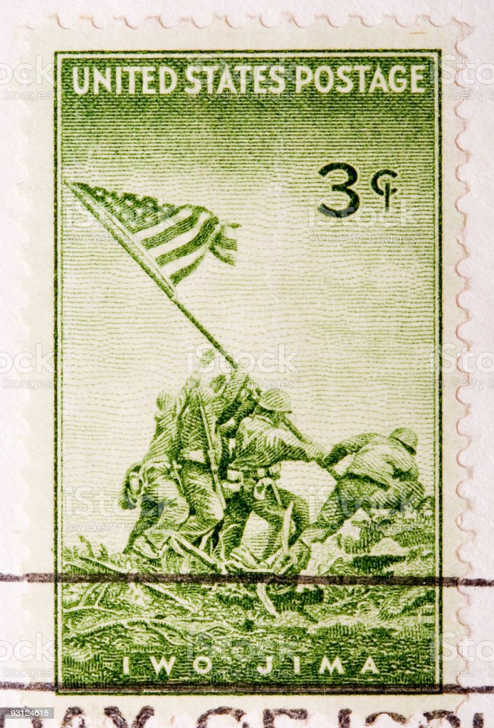 Vintage 1945 Cancelled US Postage Stamp Iwo JIma stock photo