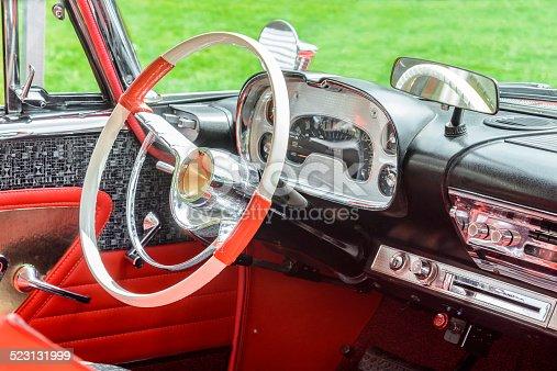 467735055 istock photo Vintage 1950s American car interior 523131999