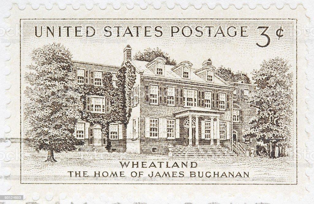 Vintage 1954 US Postage Stamp Wheatland James buchanan stock photo