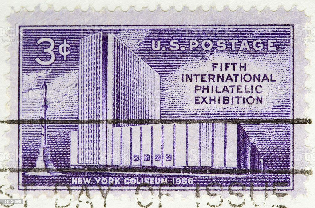 Vintage 1956 US Postage Stamp Philatelic Exhibition stock photo