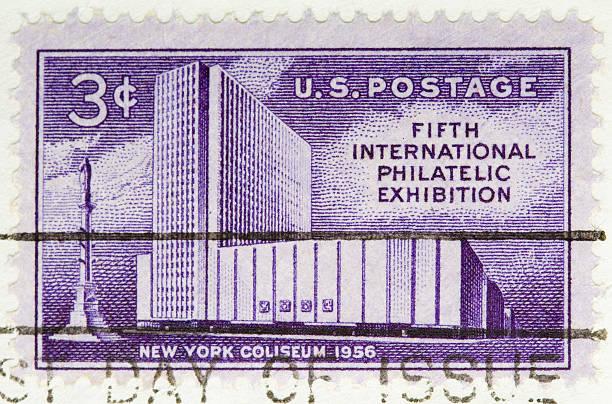 noi francobollo vintage 1956 philatelic esposizione - colosseo 1900 foto e immagini stock