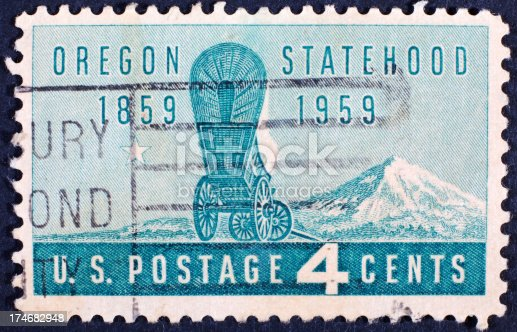 Vintage 1959 United States postage stamp featuring Oregon statehood centennial.
