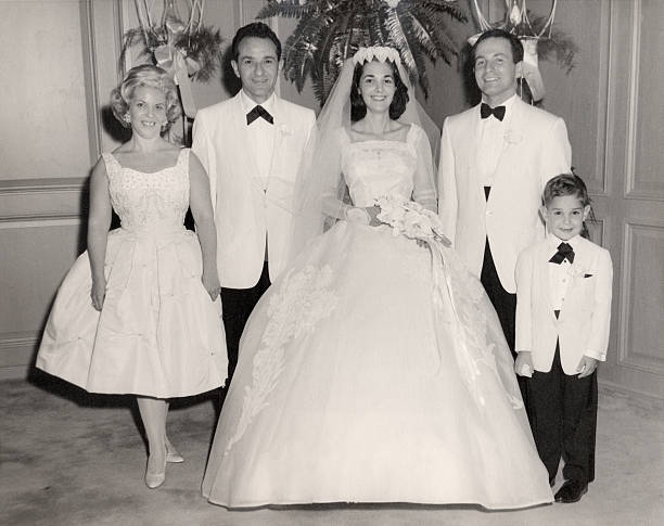 Vintage 1960 Wedding Family Portrait  20th century stock pictures, royalty-free photos & images