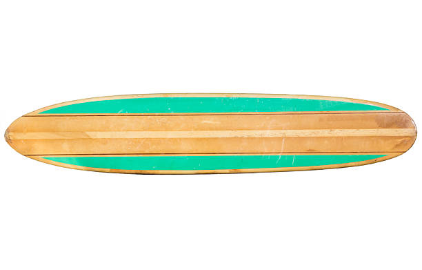 Vintage 1960s surfboard that is teal on the sides stock photo