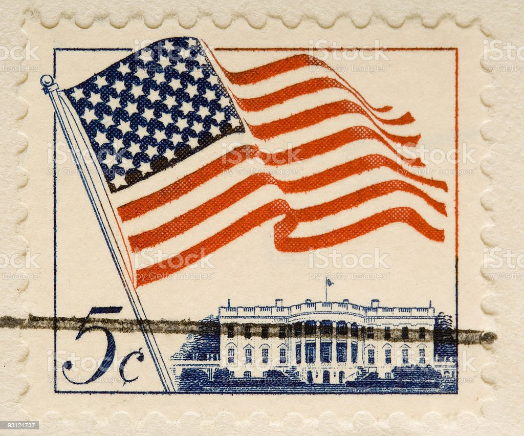 Vintage 1962 Stamp Flag and White House stock photo