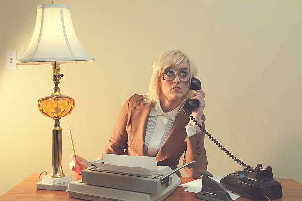 vintage 1970's secretary - low contrast stock pictures, royalty-free photos & images