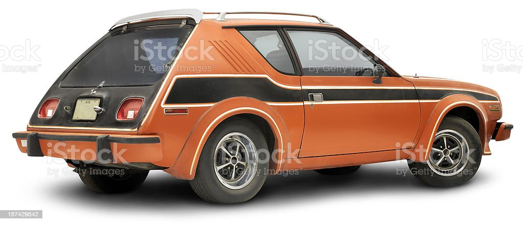 Vintage 1978 Orange Gremlin, isolated on white stock photo