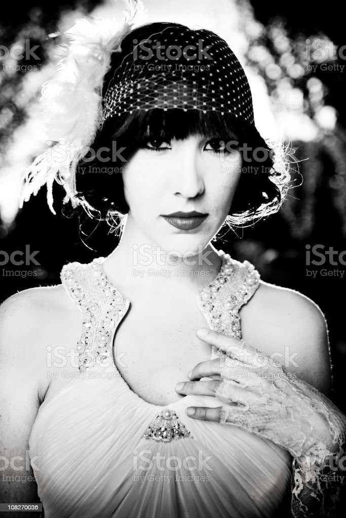 Vintage 20s style black and white portrait royalty-free stock photo