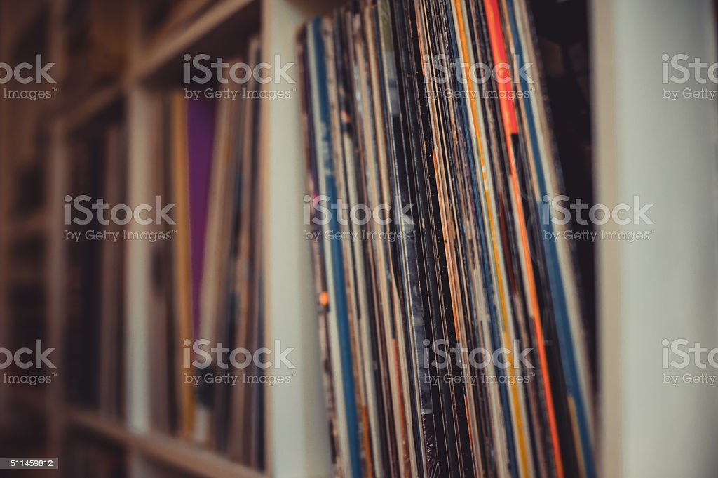 Vintage 33 vinyl long playing row on shelf stock photo