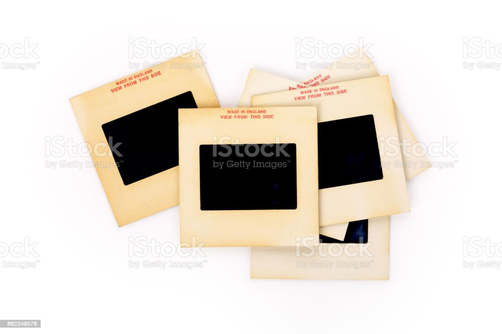 Vintage 35-mm mounted film slides, contains clipping path. stock photo