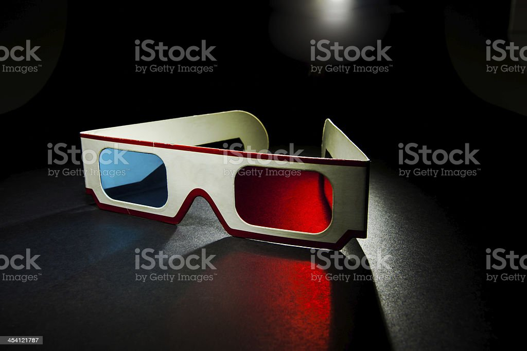 vintage 3D paper glasses on white background stock photo
