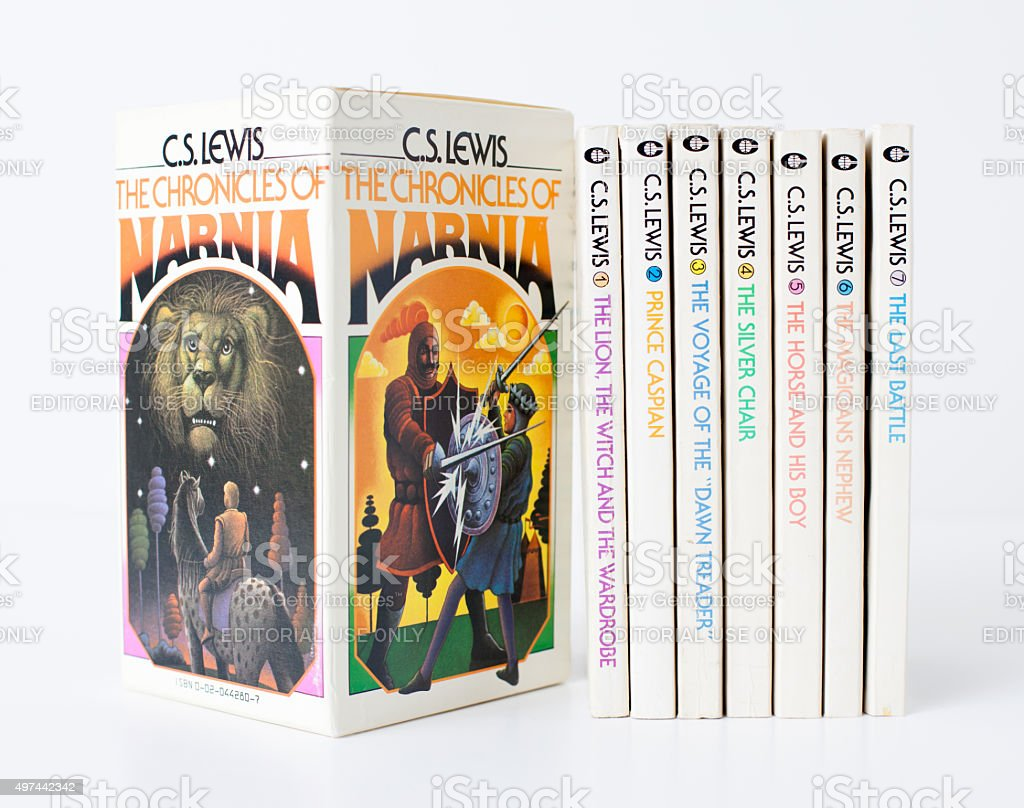 Vintage 70s C.S. Lewis Chronicles of Narnia Book Set royalty-free stock photo