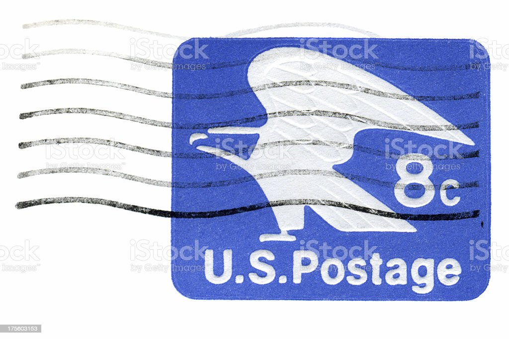 Vintage 8c US Postage from Envelope royalty-free stock photo