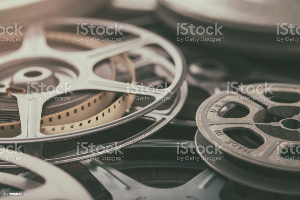 Vintage 8mm Film Reels of Home Movies History and Memories stock photo
