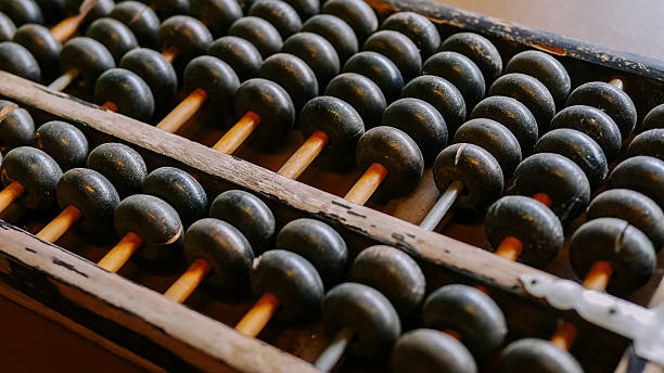 Vintage abacus on table. close-up - foto stock
