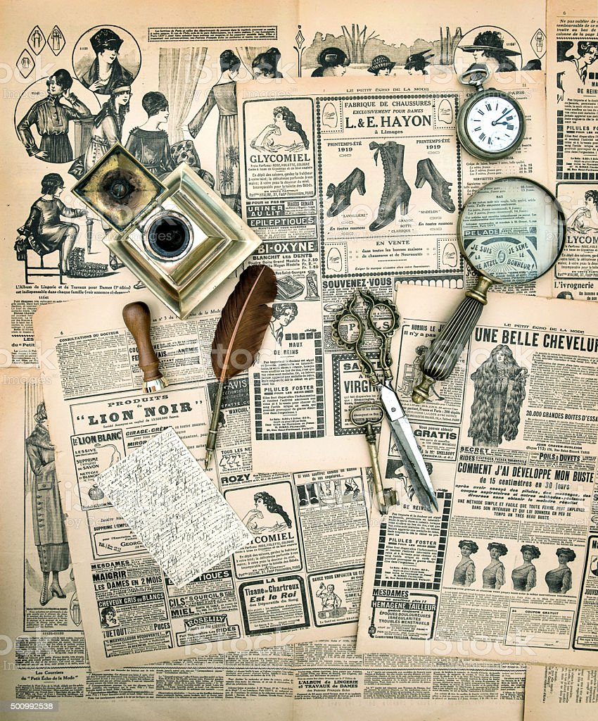 Vintage accessories and writing tools, old fashion magazine stock photo