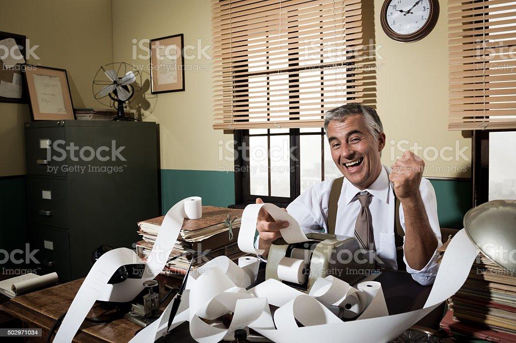 Vintage accountant giving good news stock photo