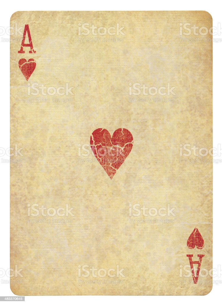 Vintage Ace Of Hearts Isolated (clipping path included) royalty-free stock photo