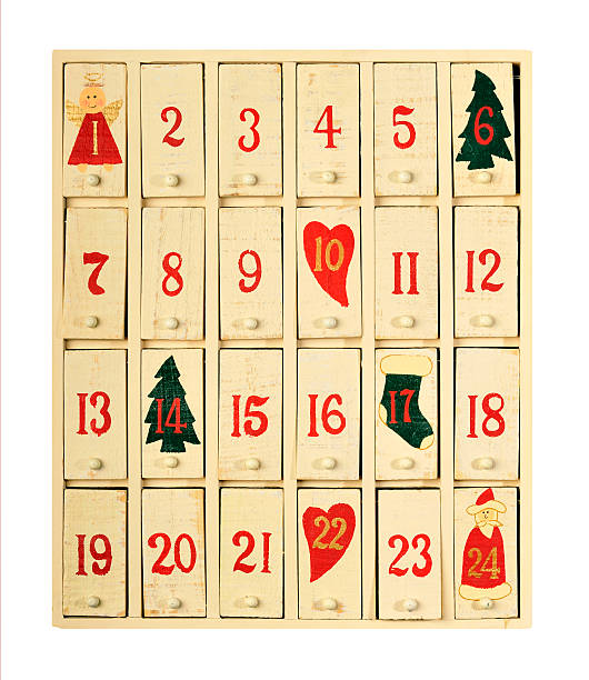 Vintage advent calendar stock photo
