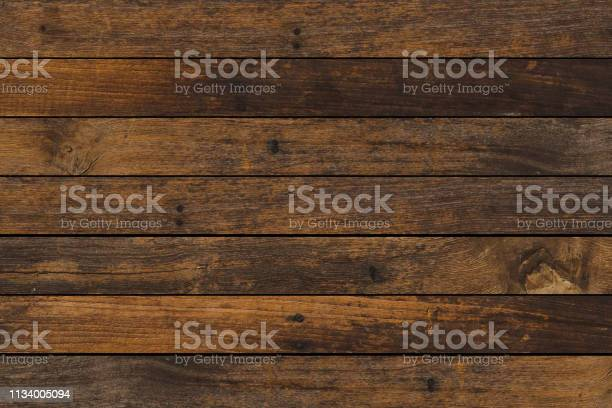 Photo of vintage aged dark brown color wooden stripe backgrounds texture for design as presentation,promote product,photo montage,banner,ads and web