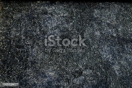 121305595 istock photo Vintage aged old paper or old leather. Dark grey or blue and black color. Original background or texture. 1205339027