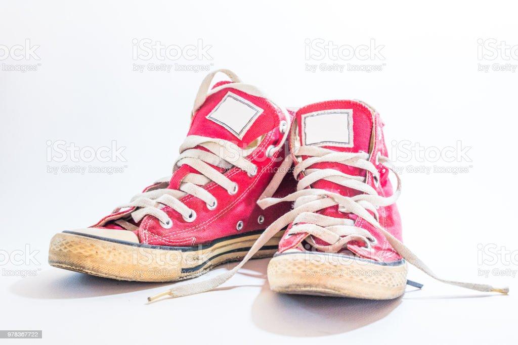 Vintage de Hintergrund Weißem Alter Getragen Auf Tennis Chaussures WHID9E2
