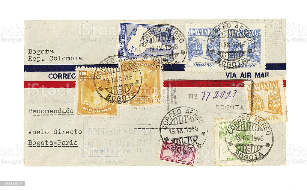 Vintage air mail envelope Colombia to Paris multiple Bogota postmarks royalty-free stock photo