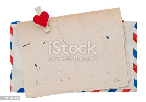 istock vintage air mail envelope. retro post love letter 475491989