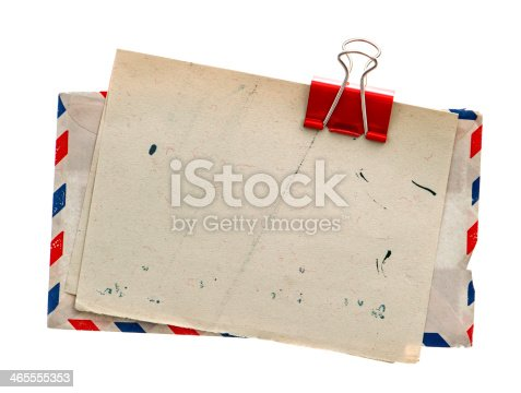 istock Vintage air mail envelopes clipped together 465555353