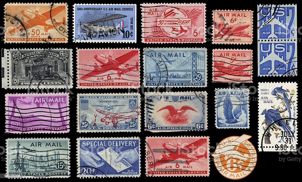 Francobolli di posta aerea d'epoca foto stock royalty-free
