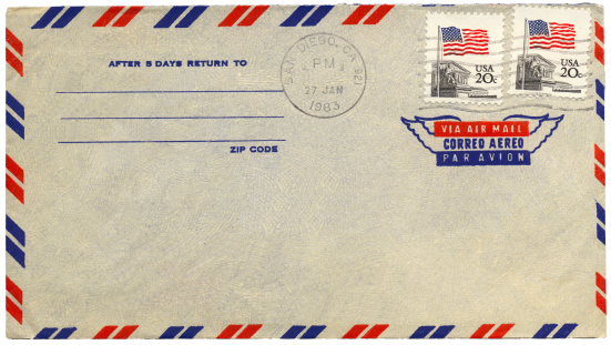 Vintage airmail envelope from USA
