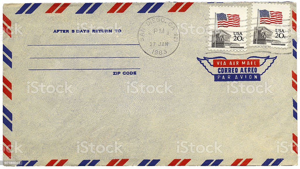 Vintage airmail envelope from USA stock photo