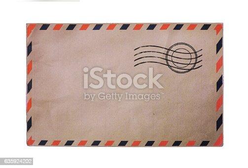 istock Vintage airmail envelope 635924202
