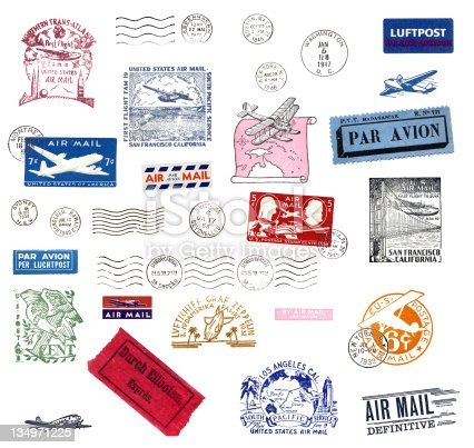 Vintage airmail labels and stamps from all over the world. all stamps are cancelled