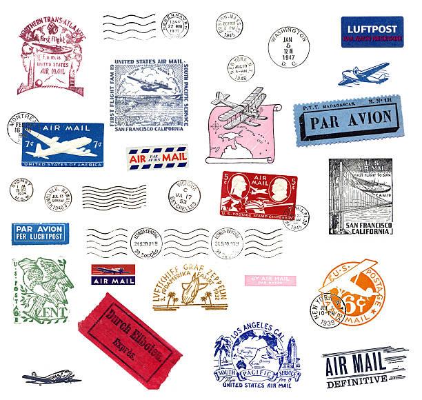 airmail vintage etichette e francobolli - timbro foto e immagini stock