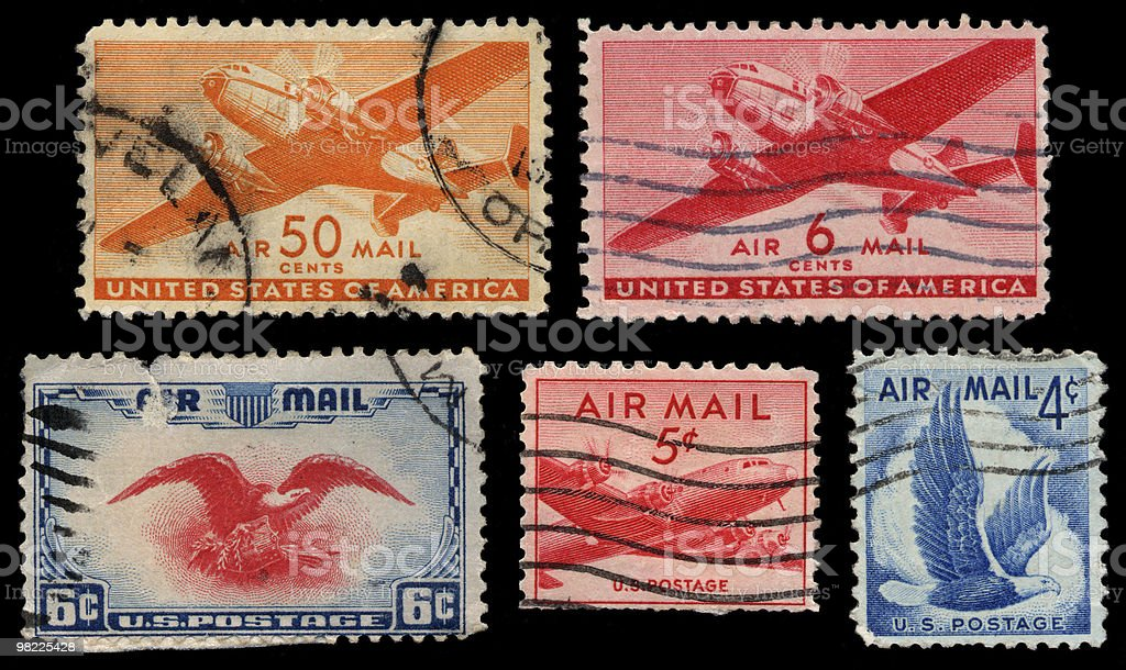 Vintage Airmail Stamp Group royalty-free stock photo